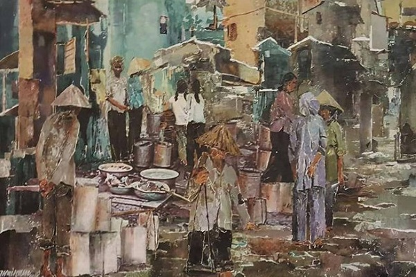 Hẻm Sài Gòn và nét thi vị trong tranh