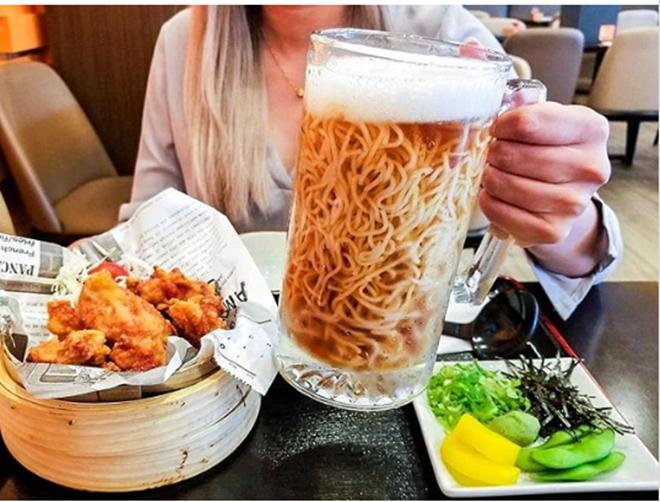 'Mỳ bia' món ăn thú vị độc đáo của người Nhật