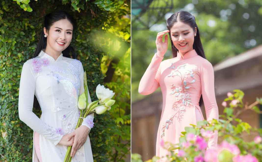 """Hoa hậu Ngọc Hân dịu dàng với bộ áo dài """"Ngày hạnh phúc"""""""