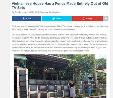 Độc đáo ngôi nhà làm hàng rào bằng tivi ở Phú Quốc lên báo quốc tế