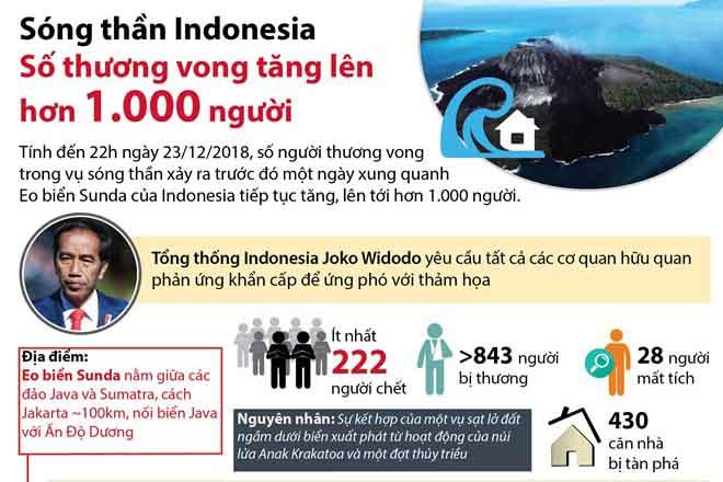 Sóng thần Indonesia: Số thương vong đã lên đến hơn 1.000 người