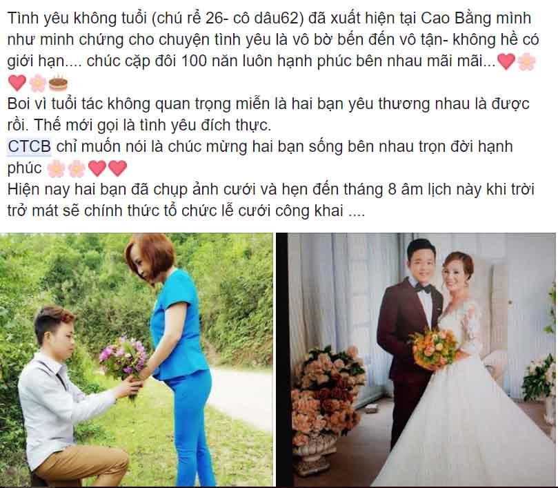 Ngỡ ngàng với đám cưới cô dâu 61 tuổi, chú rể 26 tuổi ở Cao Bằng