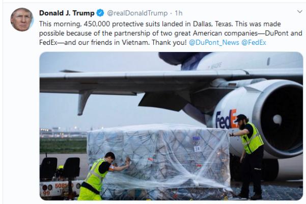 Tổng thống Trump gửi lời cám ơn ngay khi đồ bảo hộ chống dịch Việt Nam giao tới Mỹ