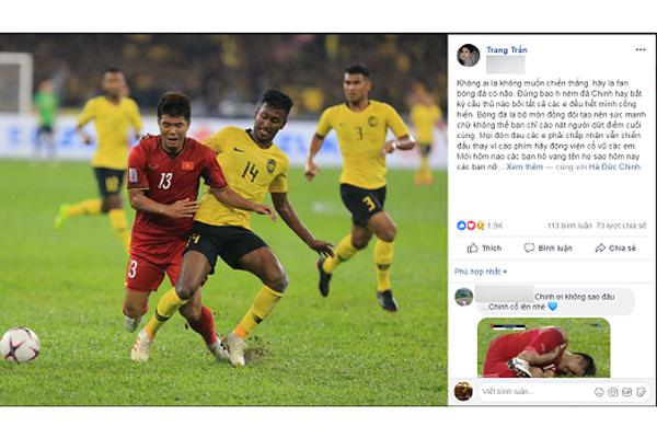 Hà Đức Chinh bị chỉ trích 'chân gỗ', siêu mẫu Trang Trần yêu cầu 'hãy là fans bóng đá có não'