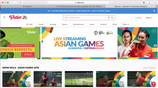 Người hâm mộ xem bóng đá tại ASIAD 2018 ở website nào?