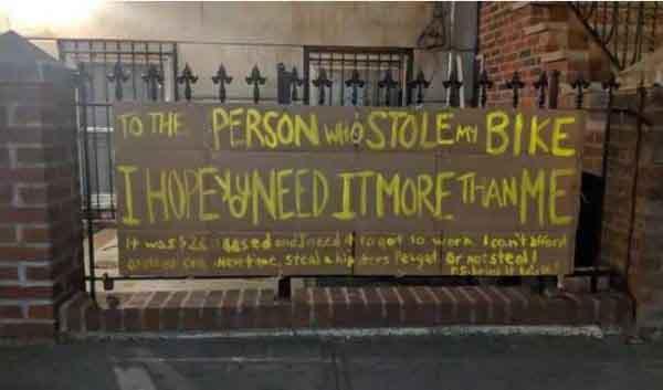 Câu chuyện bất ngờ đằng sau chiếc xe đạp bị mất cắp