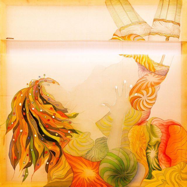 Một tác phẩm Lụa của họa sĩ Nguyễn Thu Hương tại triển lãm.