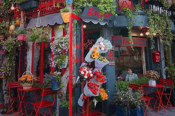 Quán café bị hoa bao vây làm du khách thích thú