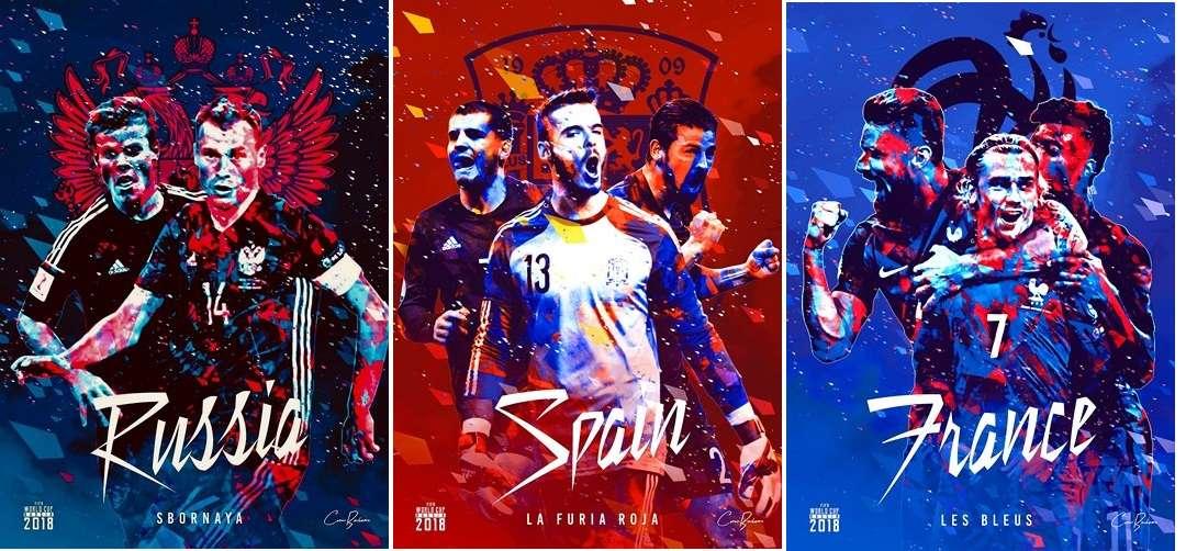 """Ấn tượng với Poster """"cực chất"""" của 32 đội bóng tham dự World Cup 2018"""