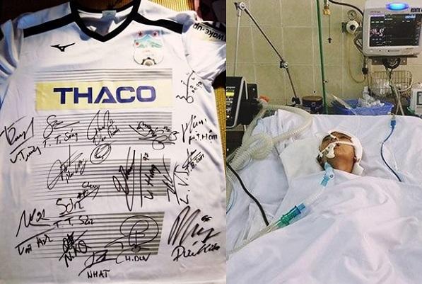 Áo đấu có chữ ký của cầu thủ HAGL được đấu giá để giúp cậu bé 9 tuổi bất hạnh