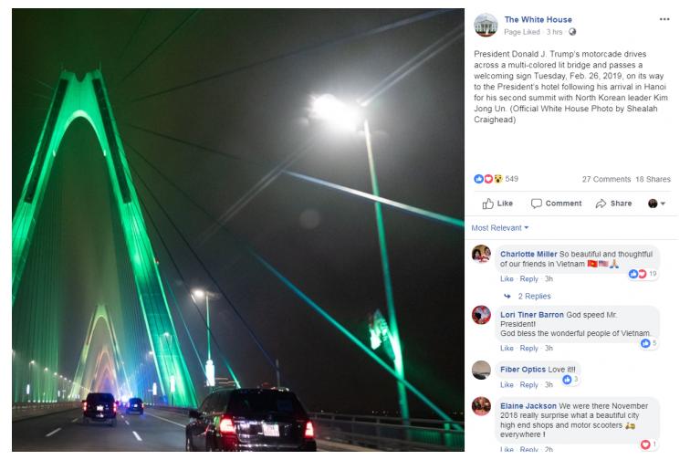 Cầu Nhật Tân lung linh sáng rực trên trang Facebook của Nhà Trắng