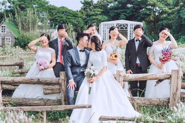 Đôi bên nội ngoại đều hóa cô dâu chú rể trong bộ ảnh cưới độc đáo