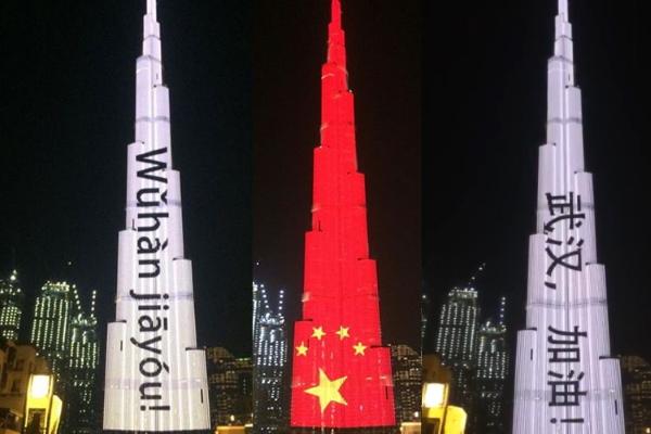 Tòa nhà cao nhất thế giới nhắn nhủ dân Vũ Hán giữa tâm dịch corona