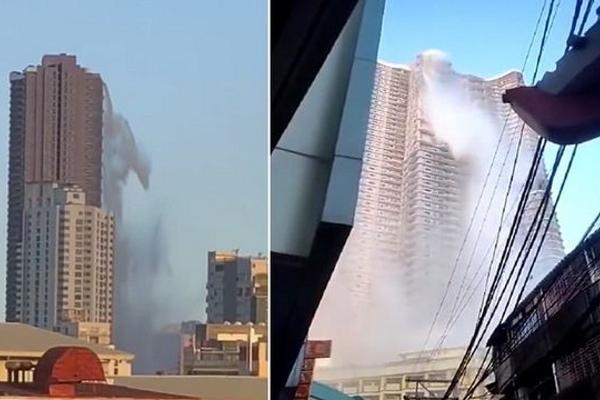 Tòa nhà biến thành thác nước sau trận động đất ở Philippines