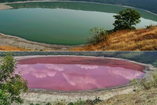 Kỳ bí hồ nước 50.000 năm chuyển sang màu hồng