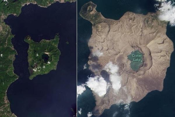 Hòn đảo đổi màu xanh sang xám sau khi núi lửa phun trào