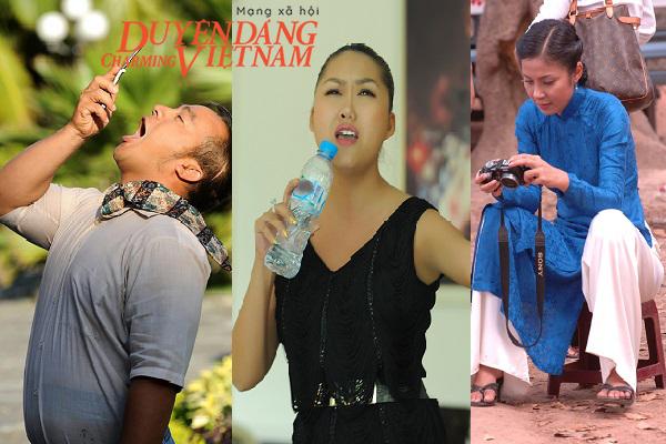Khoảnh khắc 'độc' của sao: Hiếu Hiền tạo dáng với điện thoại, Phi Thanh Vân dùng chai thay micro